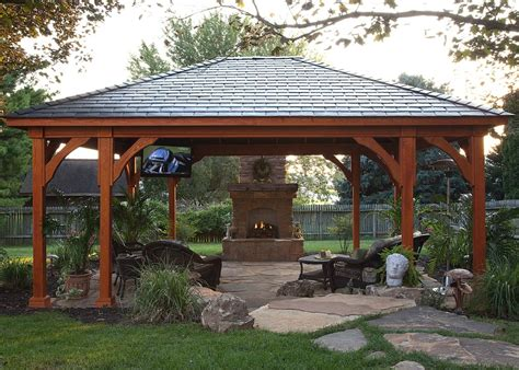 Backyard Pavilion Ideas by Gazebo Plans With Fireplace Homesfeed