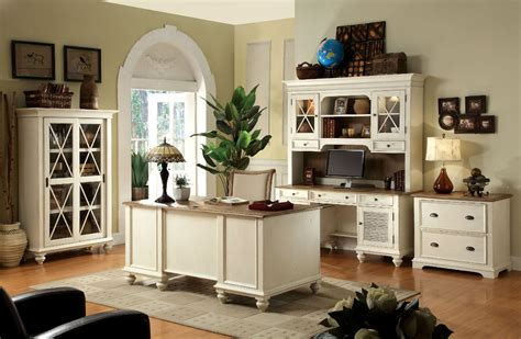 rustic style home office design with white painted
