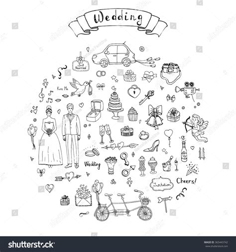 wedding doodle vector free doodle wedding collection vector illustration
