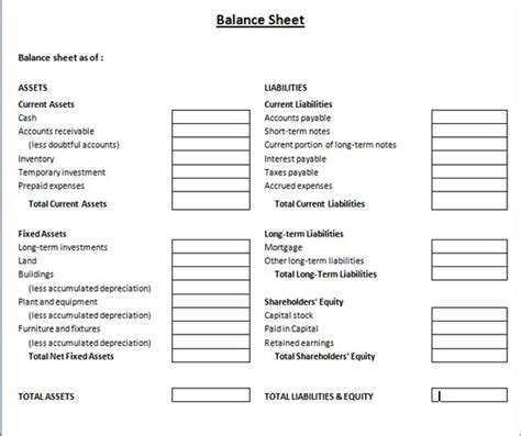 personal balance sheet template free download sle