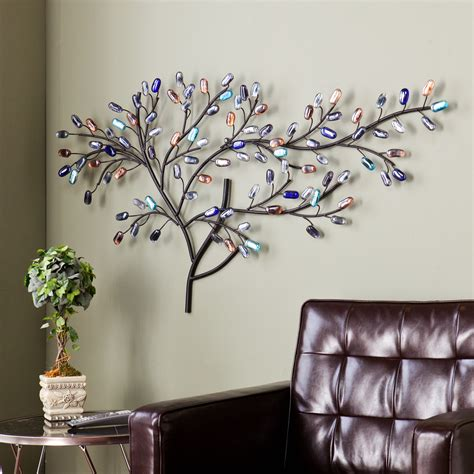 metal tree wall sculpture multicolor glass hanging home