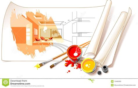Designing Kitchen by Interior Design Drawings Stock Illustration Illustration