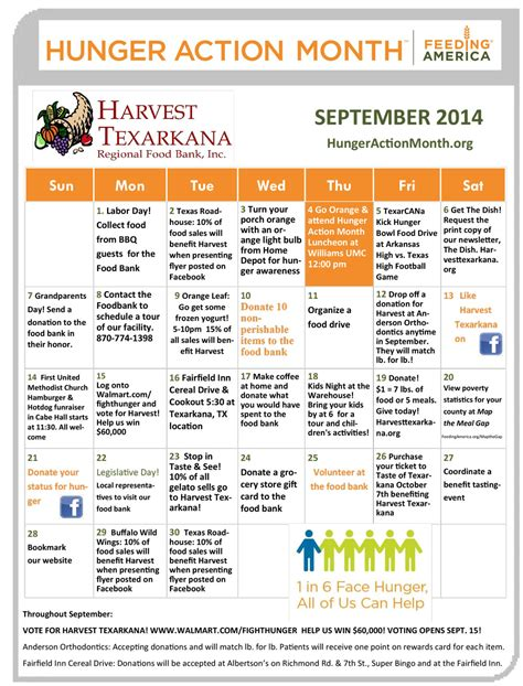 Calendar 30 Days From Today Month Caign To End Hunger Starts At Home