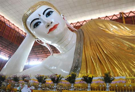 Reclining Buddha Myanmar by Chauk Htat Gyi Reclining Buddha Image Yangon Myanmar