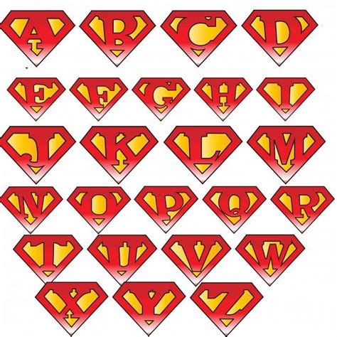 superman alphabet template superman logo with different letters superman and