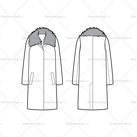 Coat Template by Oversized Coat With Shearling Collar Flat Template