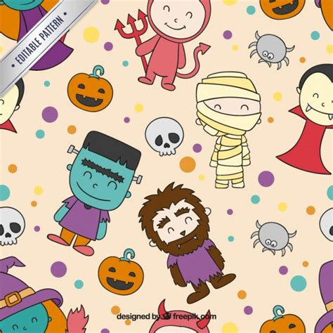 cute halloween pattern cute halloween characters pattern vector free download