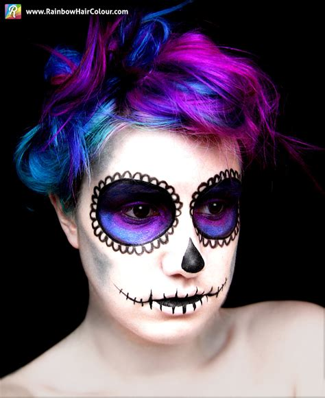 halloween hairstyles day of the dead sugar skull hair and makeup day of the dead rainbow