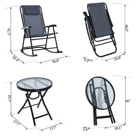 pc folding rocker lounger bistro set outdoor portable  chair  table  colors ebay