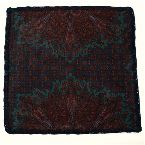Square Pop Paisley Sea Flower sea foam paisley wool navy embroidery a stylish way of