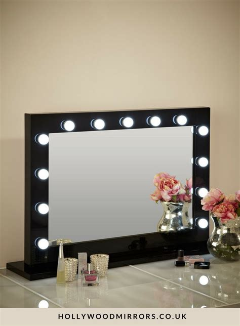 vanity desk with mirror and lights marilyn hollywood mirror in black gloss 80 x 100cm