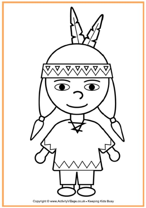 preschool indian coloring page native american boy coloring page thanksgiving coloring