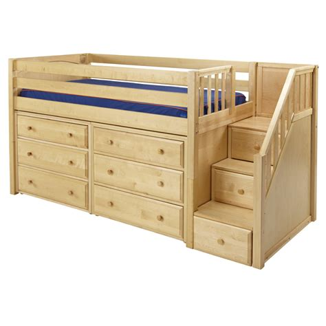 Bunk Bed Dresser Great Low Loft Bed With Dressers And Staircase Rosenberryrooms