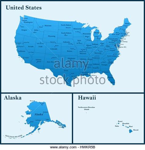us map including alaska and hawaii united states map alaska and hawaii stock photos united