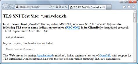 test velox telecom server name indication permettre plusieurs certificats