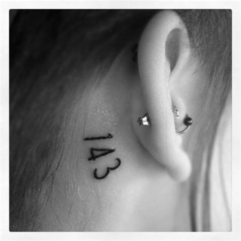 love tattoo number 143 means i 1 letter love 4 letters you 3 letters