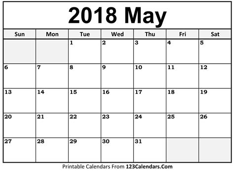 printable calendar 2018 printable may 2018 calendar templates 123calendars com