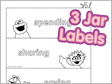 printable money jar labels finances for kids sesame street