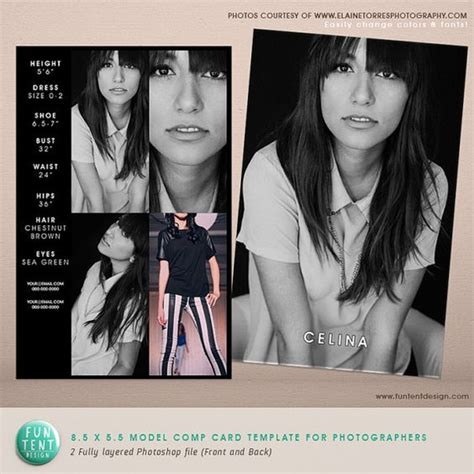 how to create a comp card template model comp card 8 5x5 5 fashion profile template instant