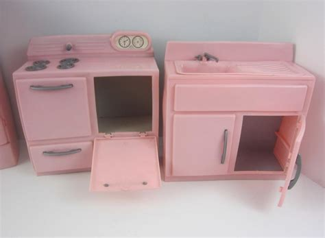 tico vintage 1950 s pink plastic 4p kitchen furniture set