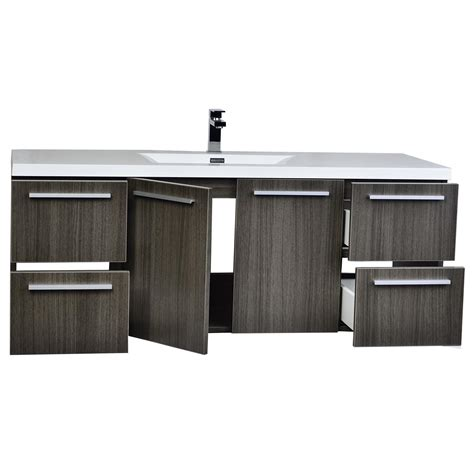 55 Inch Wall Mount Contemporary Bathroom Vanity Grey Oak 55 Bathroom Vanity
