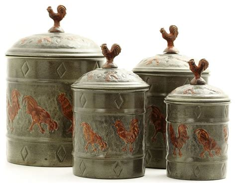 rooster canisters kitchen products pantryware art nouveau versailles country rooster