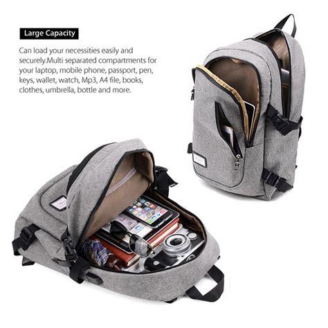 Backpack Tas Ransel dxyizu tas ransel dengan usb charger port black