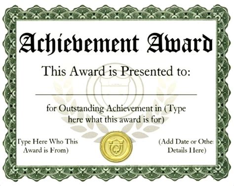 award printable certificates certificate templates