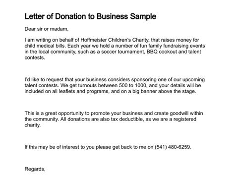 Business Letter Donations Template Letter Of Donation