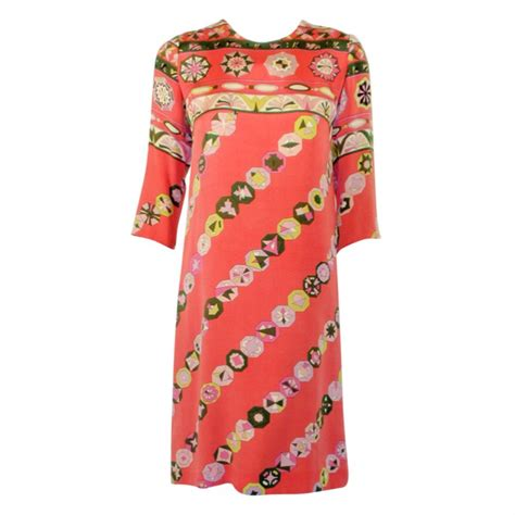Emilio Pucci Girly Silk Dress by Emilio Pucci Vintage Coral Silk Jersey Print 3 4 Sleeve