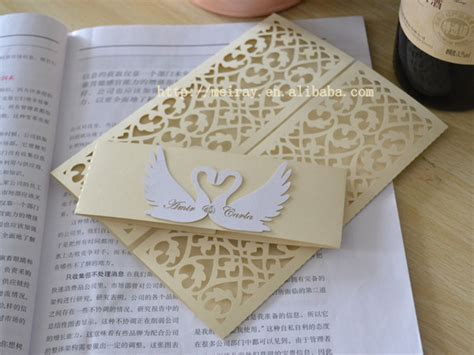 Swan Wedding Invitation Cards by Swan Wedding Invitations Laser Cut Invitation Sleeves