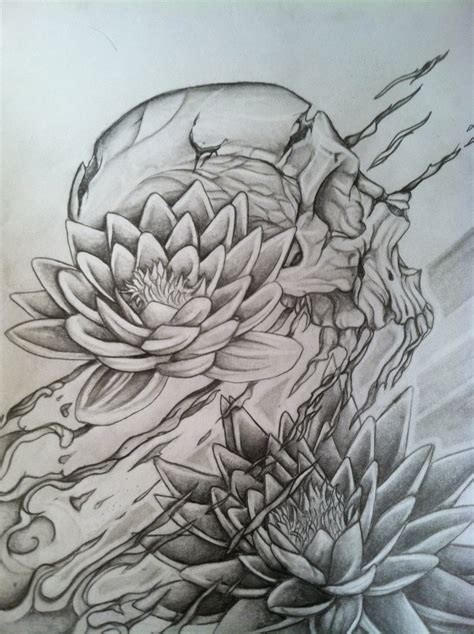 sock tattoo designs skull and lotus concept drawing for my half sock by