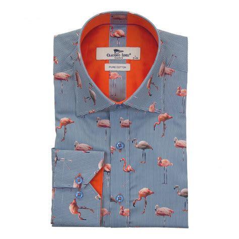 pattern shirts uk claudio lugli mens flamingo pattern shirt blue mens