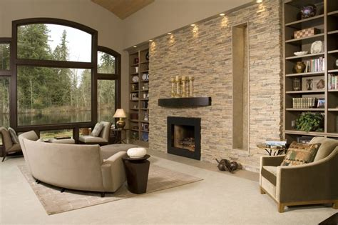 stone wall accent lighting contemporary living room with stacked stone accent wall