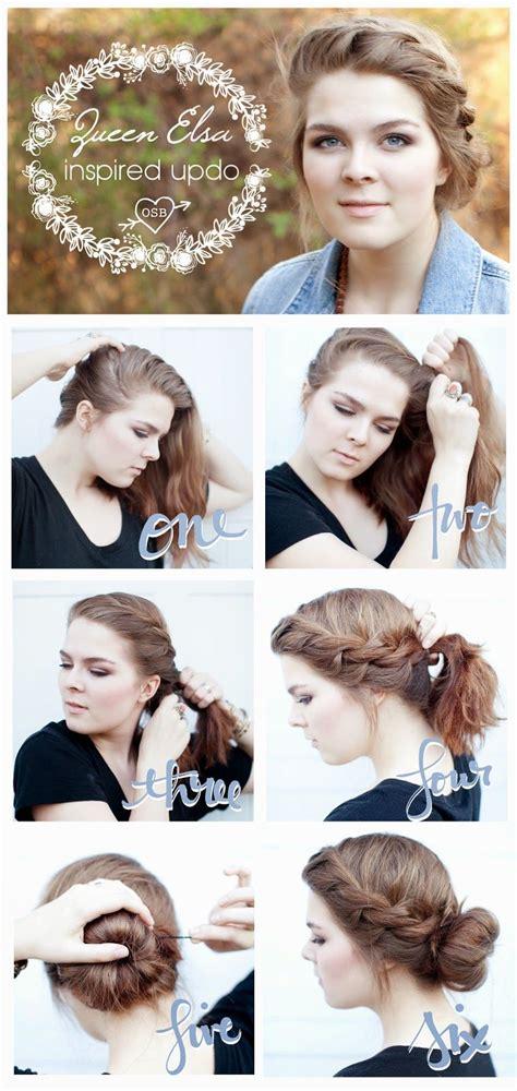 queen elsa inspired updo for short or medium length hair