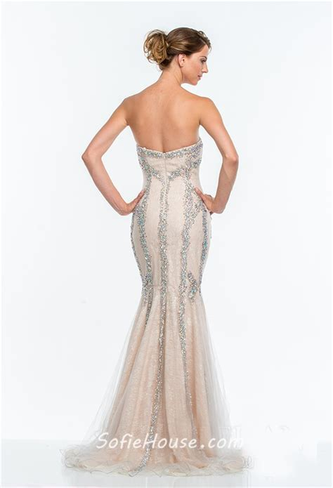 gorgeous trumpet mermaid strapless chagne tulle beaded