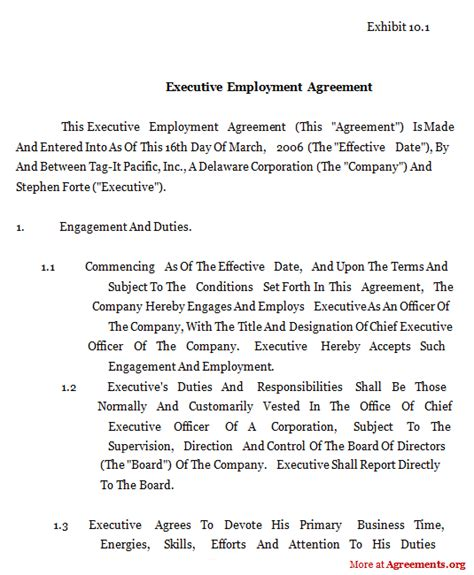 Contractor Non Compete Agreement Template executive employment agreement sample executive employment