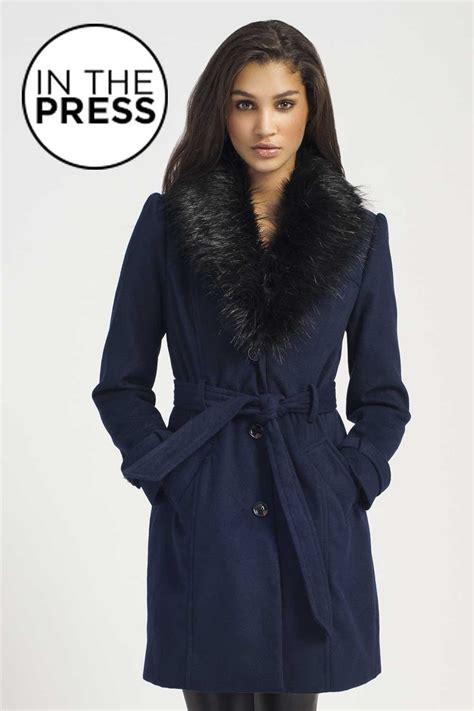 Navy Black navy black fur trim button die waist tie coat