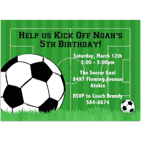 football birthday card template soccer invitation template free craft