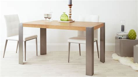 Modern Oak Dining Table Brushed Steel Legs Seats 6 Modern Oak Dining Table