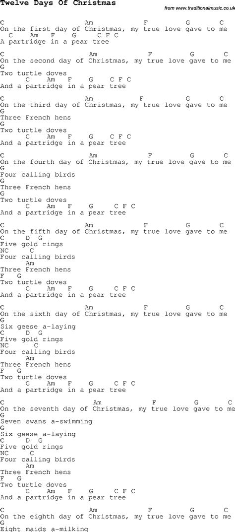 printable lyrics for 12 days of christmas 7 best images of redneck 12 days christmas printable