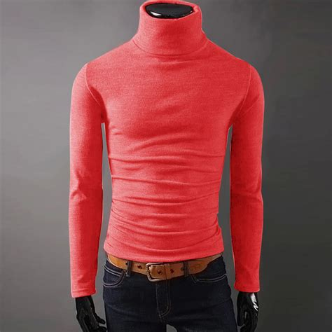Basic Sweater Murah Polos mens warm slim basic polo knitted turtleneck pullover sweater shirt undershirt ebay