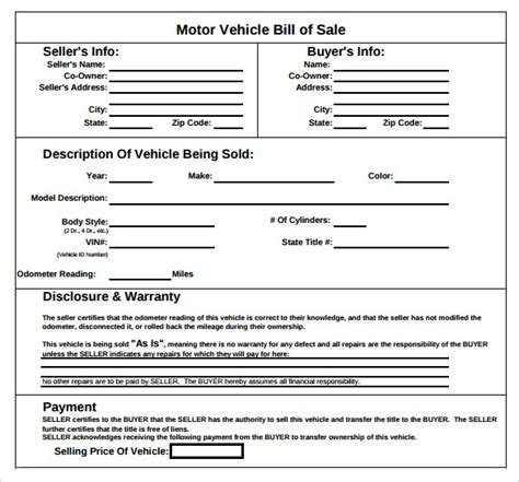 motor vehicle bill of sale template sle vehicle bill of sale form 8 free
