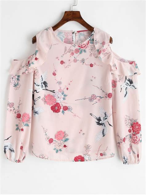 Blouse Flowery frilled floral cold shoulder blouse floral blouses l zaful