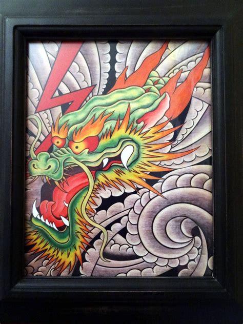 tattoo flash wall art fine art print framed 8x10 dragon tattoo flash tattoo art