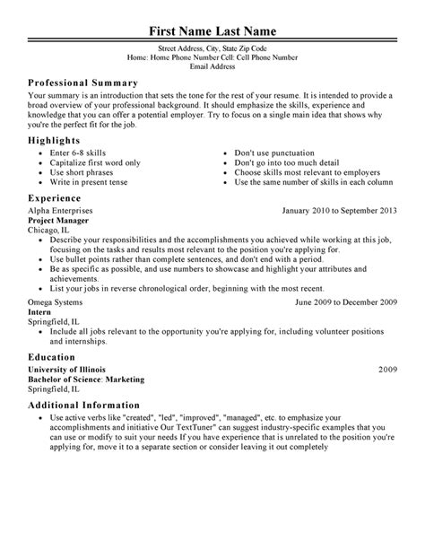 Job Resume Sample by Free Resume Templates Fast Amp Easy Livecareer