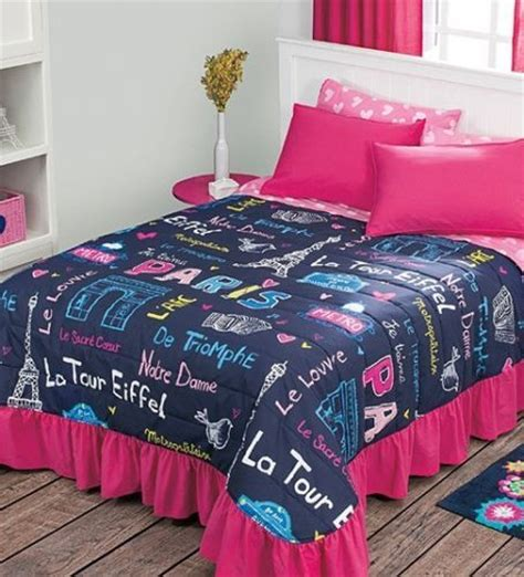 notre dame bedding details about new teens girls blue pink paris eiffel tower