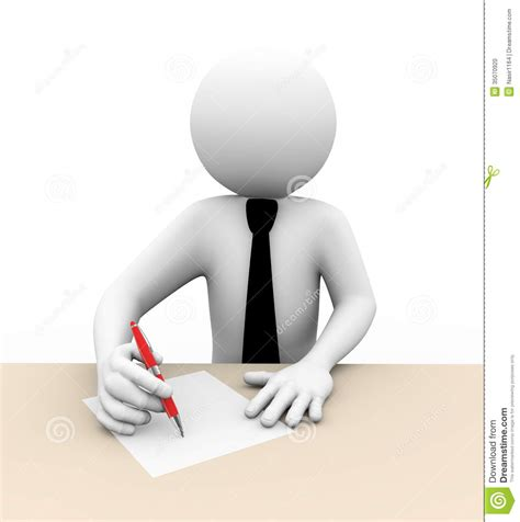 person writing on paper 3d businessman writing illustration stock illustration