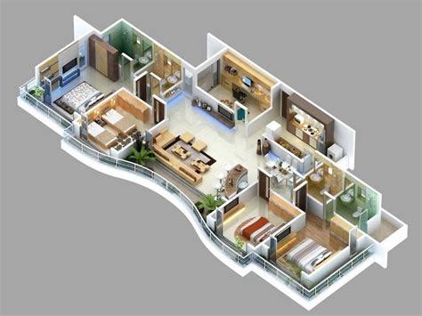 4 Bedroom Apartment Floor Plans by 4 Bedroom Apartment House Plans 3d Floor Plans