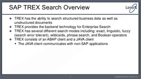 sap trex tutorial leverx abap basics using the trex search component